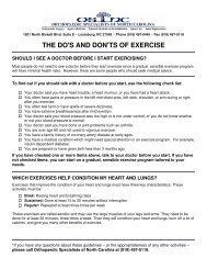 THE DO'S AND DON'TS OF EXERCISE