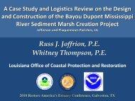 ASBPA - Bayou Dupont - Restore America's Estuaries