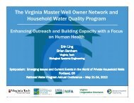 The Virginia Master Well Owner Network and Household Water ...