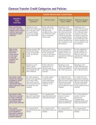 Clemson Transfer Credit Categories and Policies - Registrar