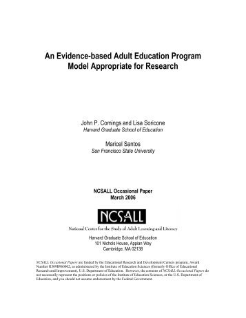 An Evidence-based Adult Education Program Model Appropriate for ...