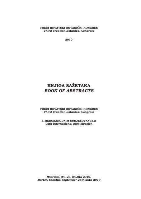 Book Of Abstracts Treci Hrvatski Botanicki Pdf