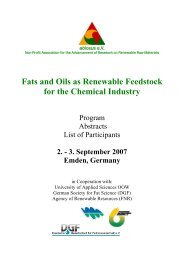 Fats and Oils as Renewable Feedstock for the Chemical ... - abiosus