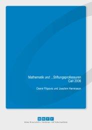 Mathematik und ...Stiftungsprofessuren Call 2006 - Wwtf.at