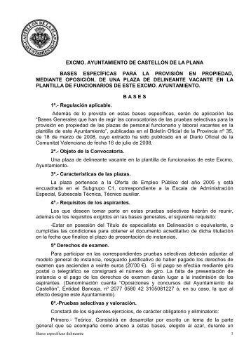 BASES ESPECIFICAS delineante - Ayuntamiento de Castellón