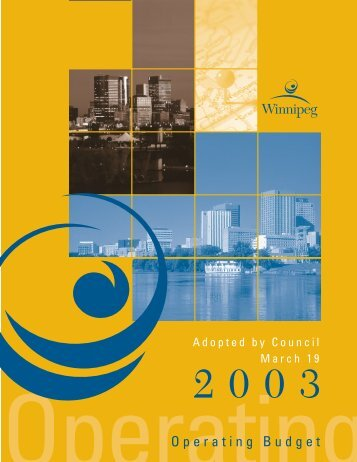 2003 Adopted Operating Budget - City of Winnipeg