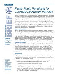 Faster Route Permitting for Oversize/Overweight Vehicles, Summary of