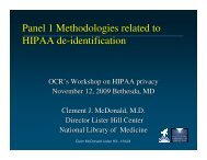 Panel 1 Methodologies related to HIPAA de-identification
