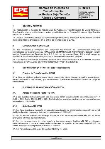 Montaje de Puestos de Transformación de Media a Baja ... - Epe