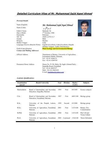 Detailed Curriculum Vitae of Mr. Muhammad Sajid Aqeel ... - VISB