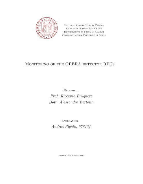 Monitoring of the OPERA detector RPCs Prof. Riccardo ... - Infn