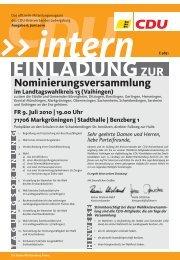 Nominierungsversammlung - CDU Stadtverband Vaihingen/Enz