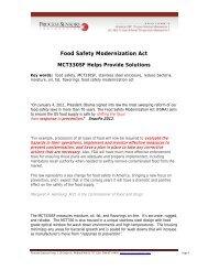 Food Safety Modernization Act - Process Sensors Corp.