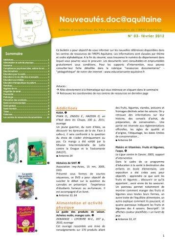 N° 03- février 2012 - Ireps Aquitaine
