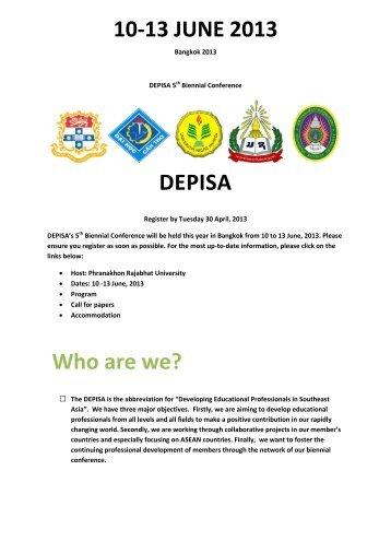 Draft program for DEPISA June 2013 as discussed in Jakarta 5 ...