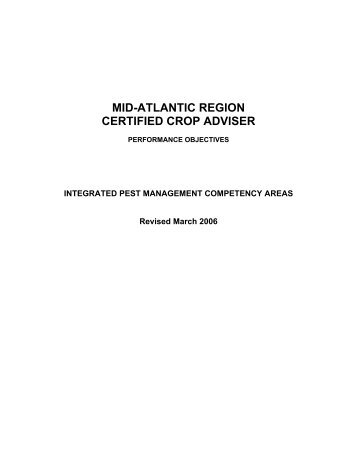 INTEGRATED PEST MANAGEMENT COMPETENCY AREAS ...