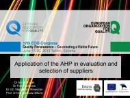 Application of the AHP in evaluation and selection of suppliers - EOQ