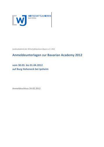 WJB - Bavarian Academy 2012 - Anmeldeunterlagen