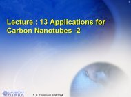 Lecture : 13 Applications for Carbon Nanotubes -2