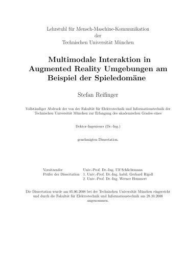 Multimodale Interaktion in Augmented Reality Umgebungen am ...