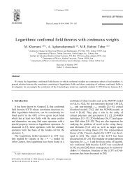 Logarithmic conformal field theories with continuous weights