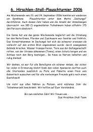 6. Hirschlen-Stall-Plauschturnier 2006 - Reitkalender