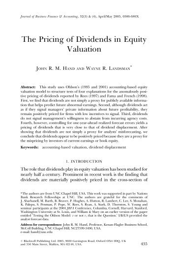The Pricing of Dividends in Equity Valuation - University of North ...