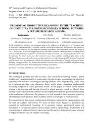 Promoting productive reasoning in the teaching of ... - ICME-12