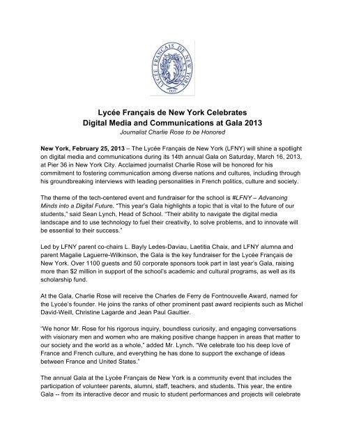 Lycée Français de New York Celebrates Digital Media and ...