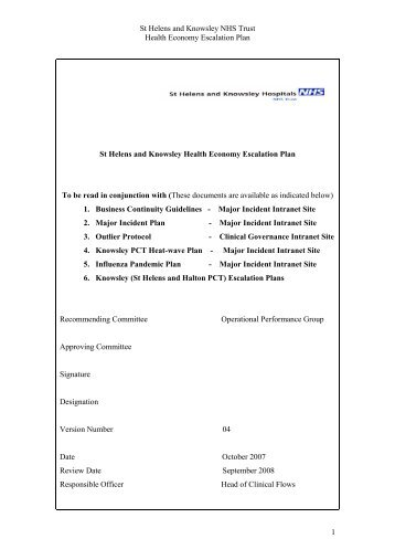 St Helens and Knowsley Hospitals NHS Trust - Halton and St ...