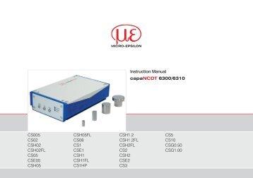 Manual capaNCDT 6300 / 6310 (PDF, 1.74 MB) - Micro-Epsilon