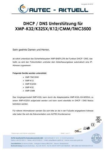 DHCP / DNS Unterstützung für XMP-K32/K32SX/K12/CMM/TMC3500