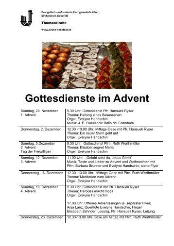 Gottesdienste im Advent - Kirchenkreis Liebefeld