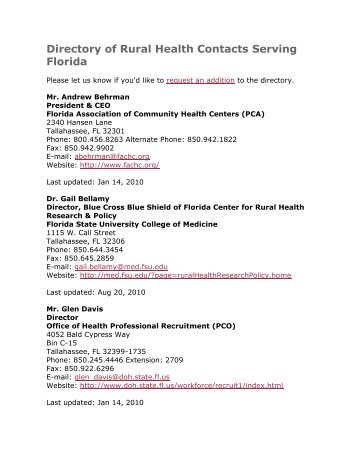 Directory of Rural Health Contacts Serving Florida
