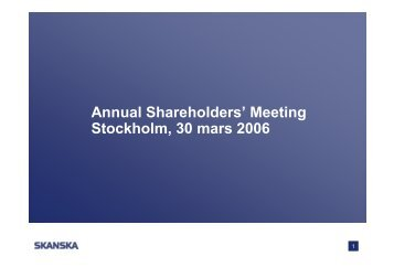 CEO Statement 2006 - Skanska