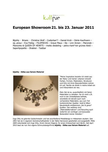 European Showroom 21. bis 23. Januar 2011