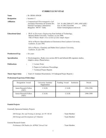 CURRICULUM VITAE - National Aerospace Laboratories