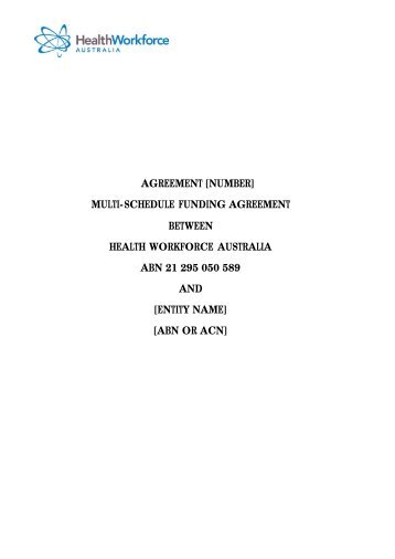 Access the Multi Schedule Funding Agreement here - Health ...