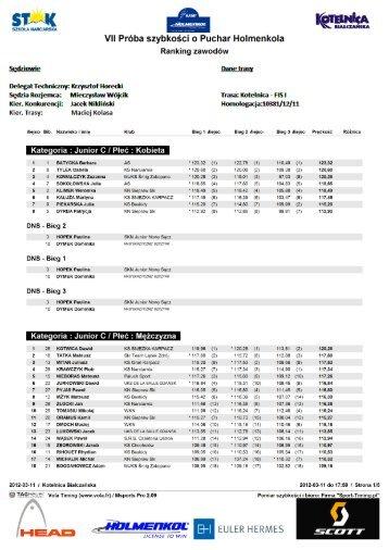 Wyniki VII próba szybkości 2012 - Podhale Sport