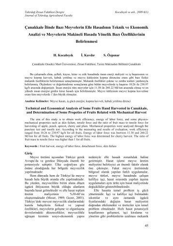 proje kesin raporu yazımında - Tekirdağ Ziraat Fakültesi Dergisi