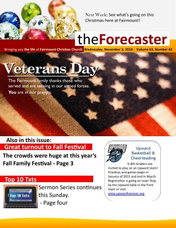 Nov 3: Cover Story - Veterans Day - Fairmount Christian Church