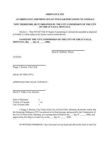 ordinance 2933 an ordinance amending occgf title 6.08 pertaining to ...