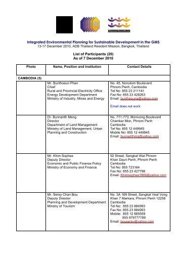 Participants'List-Environment2010-Dec7 - GMS-EOC