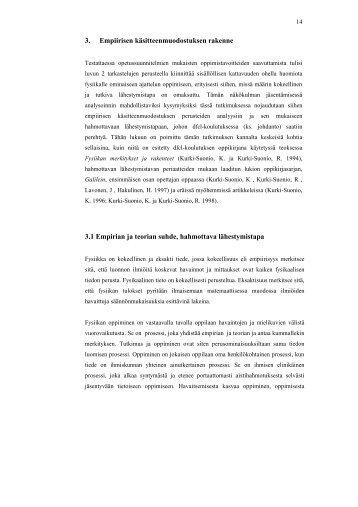 3. Empiirisen käsitteenmuodostuksen rakenne 3.1 Empirian ja ...