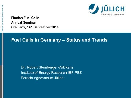 Fuel Cells in Germany – Status and Trends