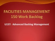 U157 Advanced Backlog Management - Facilities Management