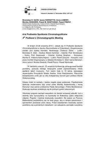 4 th Podlasie's Chromatographic Meeting - Zakład Chemii ...