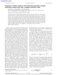 Properties of defect modes in one-dimensional photonic crystals ...