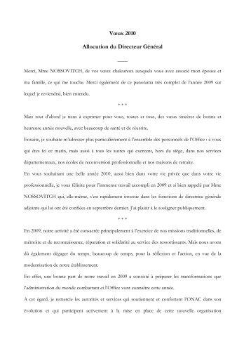 Vœux 2010 Allocution du Directeur Général - ONAC