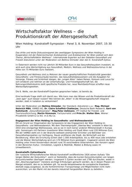 Wirtschaftsfaktor Wellness – die Produktionskraft der ... - Wien Holding